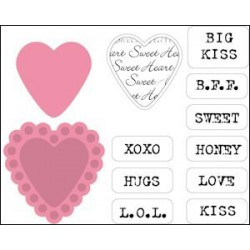 COL1307 / set Candy Hearts UK - dies and stamps