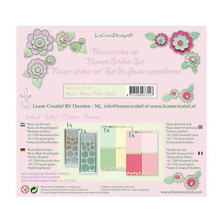 LCR51.7117 / Bloem sticker papier set, Roze