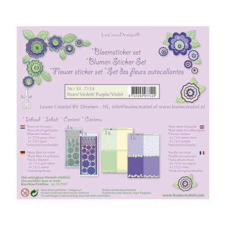 LCR51.7124 / bloem sticker papier set paars