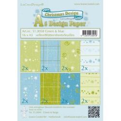 LCR51.0058 / Christmas design papier groen/blauw 16 x A5