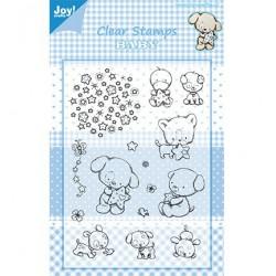 6410-0322 / clear stamp Hond-kat-eend-sterren