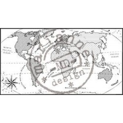 CS0913 / Clear stamp map of the world