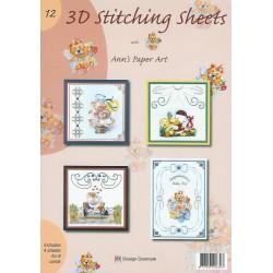 3-D Stitching Sheets 12 Dieren / Div