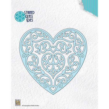 SGD003 / Stained glass Dies Fantasy heart