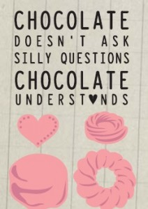 snijmal van chocolaatjes en tekst stempelk