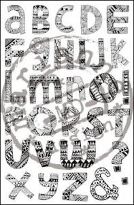 cs0910 Clear stamp doodle alphabet