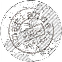 cs0912 Clear stamp map of Europe