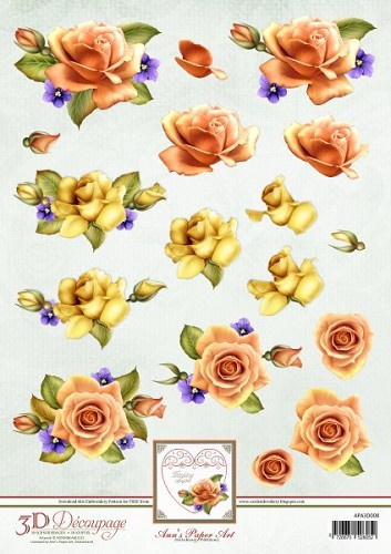 APA3D008 orange roses