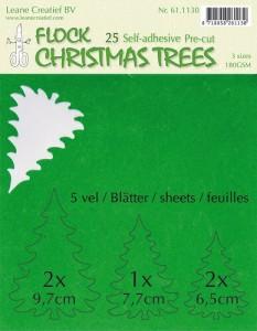 Flock papieren kerstboompjes