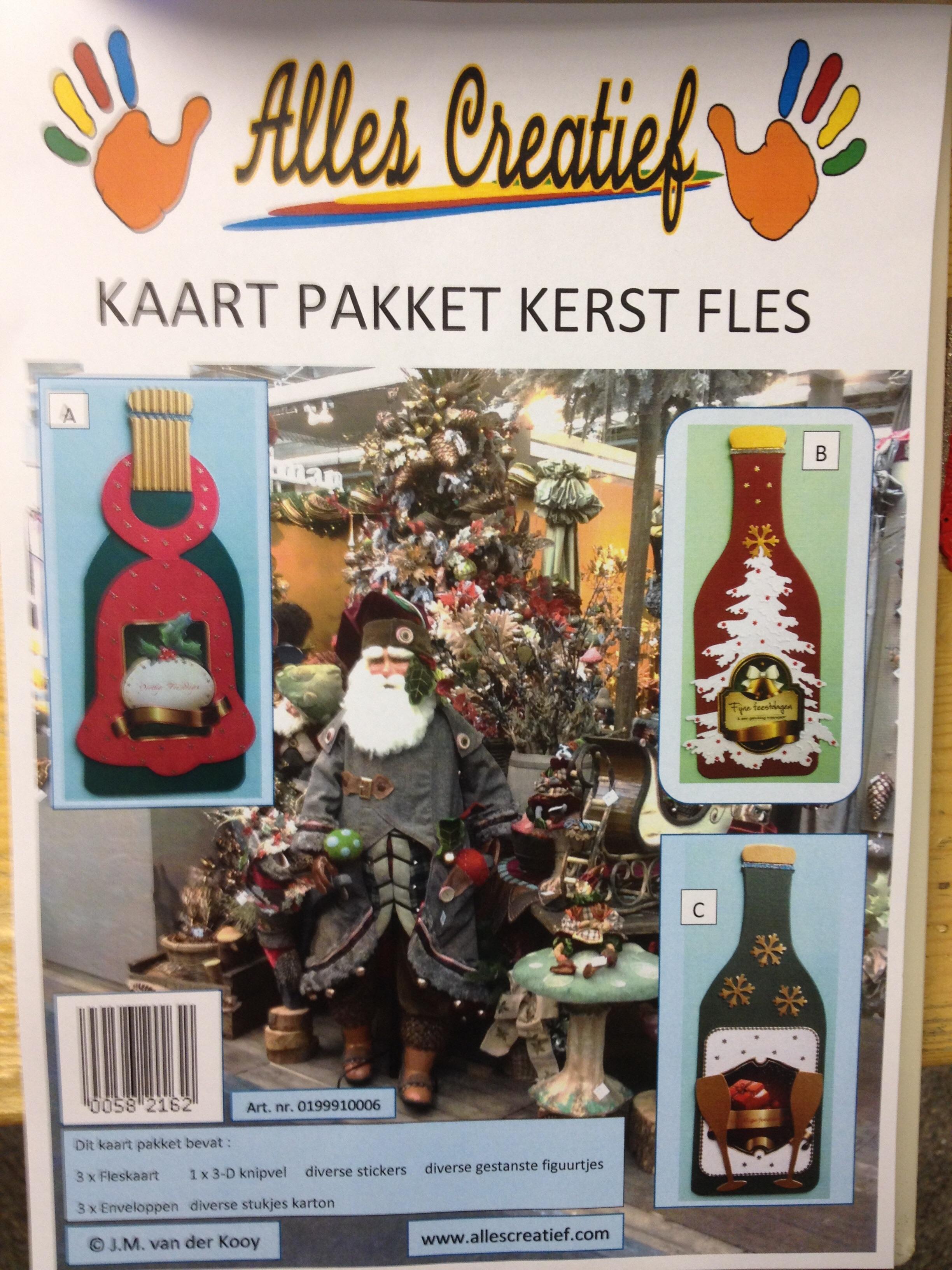 Kaart pakket Kerst fles