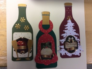 Kaarten pakket kerst fles